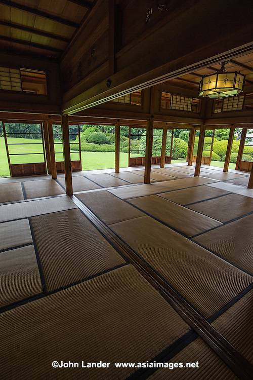 """Tojo-tei Tojogaoka Garden is the former domain of Kokugawa Akitake, often called """"the last Shogun"""".  In 1887 when the last Shogun returned power to the emperor.  At the time,  a new era had begun and people from Shogun families faded into obscurity.  The house was designed in styles of both the Edo and Meiji periods with only precious materials used in its construction.   The minimalism found in the design creates the beauty of form. The garden surrounding the home is  an important element havin been designed so that seasonal followers can be enjoyed viewing from all rooms."""