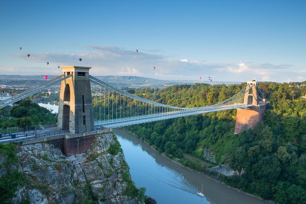 Balloons over Bristol Suspension Bridge, England