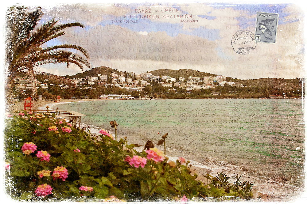 Digital Art Photography Colage of Vouliagmeni, Greece, a beach resort town on the Attica Coast of Greece, near Athens.