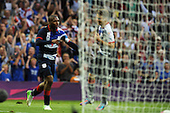 Daniel Sturridge of team GB celebrates his opening goal with Aaron Ramsey ®. London 2012 Olympic games, mens Olympic football, 1st round, group A match, Great Britain v Uruguay at the Millennium Stadium in Cardiff on Wed 1st August 2012. pic by Andrew Orchard, Andrew Orchard sports photography,