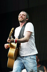Fran Healy, singer of the band Travis, play the  main stage at T in the Park Sunday 10 July 2005, at Balado, Fife...