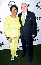 Aretha Franklin and Clive Davis pose before speaking as the 92nd Street Y Presents Aretha Franklin and Clive Davis in Conversation in New York City, NY, USA, on September 30, 2014. Photo by Donna Ward/ABACAPRESS.COM