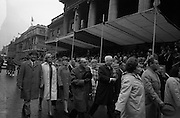 17/03/1965<br /> 03/17/1965<br /> 17 March 1965<br /> NAIDA St. Patrick's Day Parade, Dublin. Americans March in the Parade. This was the second year in whichh these Americans celebrated St. Patrick's Day in Dublin and New Jersey. Picture shows some of the 136 strong contingent marching past the reviewing stand outside the GPO on O'Connell Street.