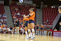 16 SEP 2008: Ashley Edinger makes a dig and a pass during a match at Redbird Arena on the campus of Illinois State University in Normal Illinois.  The Illinois State Redbirds went toe to toe with the University of Illinois Illini but in the end were outpaced by the 23rd ranked Division 1 Illini team 3 sets to 1.