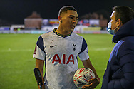 Tottenham Hotspur forward Carlos Vincius (45) with the match ball during the The FA Cup match between Marine and Tottenham Hotspur at Marine Travel Arena, Great Crosby, United Kingdom on 10 January 2021.