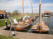 Historic wooden sailing barges, Marken harbour, Zuiderzee museum, Enkhuizen, Netherlands