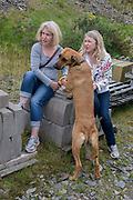 Girlfriends look at a pet dog's paws during a day out in wales. While inspecting the large dog's front foot, the women are distracted by another event elsewhere. Sitting on concrete blocks called breeze blocks at the side of a private road during a country walk, the female friends are both wearing jeans and trainers.