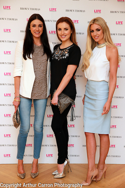 14/5/14 Ruth Griffin, Holly Carpenter and Rosanna Davison at the 10th Anniversary celebrations of Life Magazine at Brown Thomas in Dublin. Picture:Arthur Carron