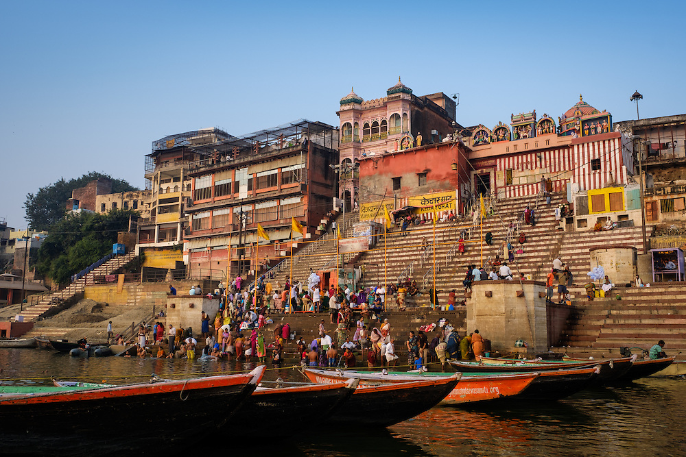 VARANASI, INDIA - CIRCA NOVEMBER 2016: Vijaynagram Ghat in the Ganges river early morning. The city of Varanasi is the spiritual capital of India, it is the holiest of the seven sacred cities in Hinduism and Jainism. The Ganges is also considered a sacred river.