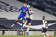 Chelsea midfielder Mason Mount (19) and Tottenham Hotspur midfielder Pierre-Emile Hojbjerg (5) clash in the air during the EFL Cup Fourth Round match between Tottenham Hotspur and Chelsea at Tottenham Hotspur Stadium, London, United Kingdom on 29 September 2020.