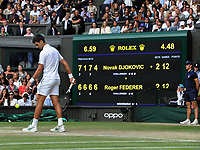 Tennis - 2019 Wimbledon Championships - Week Two, Sunday (Day Thirteen)<br /> <br /> Men's Singles, Final: Novak Djokovic (SRB) vs. Roger Federer (SUI)<br /> <br /> Novak Djokovic prepares to serve the final set tie break which came into force at 12 games all, on Centre Court.<br /> <br /> COLORSPORT/ANDREW COWIE