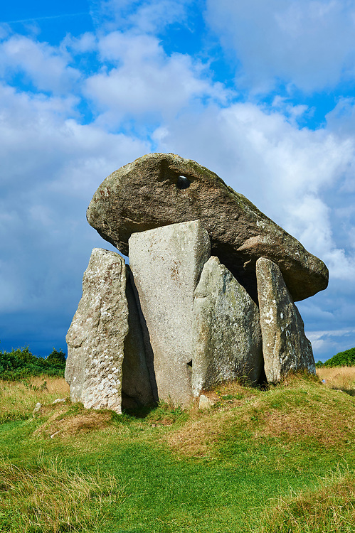Trethevy Quoit megalithic standing stone tomb, known as the giant's house, near St Cleer, circa 4000 BC, Cornwall, England, United Kingdom '<br /> <br /> Visit our PREHISTORIC PLACES PHOTO COLLECTIONS for more  photos to download or buy as prints https://funkystock.photoshelter.com/gallery-collection/Prehistoric-Neolithic-Sites-Art-Artefacts-Pictures-Photos/C0000tfxw63zrUT4