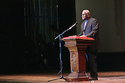 """19 January 2015-Santa Barbara, CA: The Arlington Theater Program;  Introduction of Speaker, Dr. Wallace Shepherd Jr. Pastor.  Santa Barbara Honors Dr. Martin Luther King Jr. with a Day of Celebration.  The Santa Barbara MLK, Jr. Committee chose """"Drum Majors for Justice"""" as it's theme for the day which included a Pre-March Program in De la Guerra Plaza followed by a march up State Street to the Arlington Theater for speakers, music and poetry.  The program concluded with a Community Lunch at the First United Methodist Church in Santa Barbara.  Photo by Rod Rolle"""