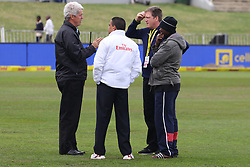Stadium and management chat to  fourth official Shaun George during  day four of the first test match between South Africa and New Zealand held at the Kingsmead stadium in Durban, KwaZulu Natal, South Africa on the 22nd August 2016<br /> <br /> Photo by:   Anesh Debiky / Real Time Images