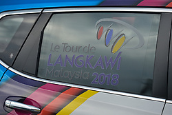 March 23, 2018 - Tanjung Malim, Malaysia - Le Tour de Langkawi logo seen on a car's window ahead the sixth stage, the 108.5km from Tapah to Tanjung Malim, of the 2018 Le Tour de Langkawi. .On Friday, March 23, 2018, in Tanjung Malim, Malaysia. (Credit Image: © Artur Widak/NurPhoto via ZUMA Press)