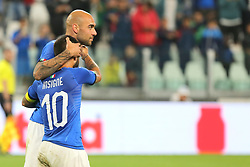 June 4, 2018 - Turin, Piedmont, Italy - Simone Zaza (Italy) celebrates after scoring with Lorenzo Insigne during the friendly football match between Italy and Holland at Allianz Stadium on June 04, 2018 in Turin, Italy. Final result: 1-1  (Credit Image: © Massimiliano Ferraro/NurPhoto via ZUMA Press)