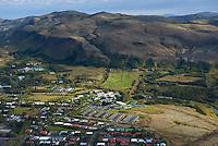 Heilsustofnun NLFÍ - Náttúrulækningafélag Íslands Hveragerði, loftmynd.<br /> <br /> Hveragerði aerial view, South Iceland.