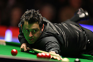 Ronnie O'Sullivan of England in action on his way to winning his 1st round match against Tom Ford of England. Coral Welsh Open Snooker 2017, day 2 at the Motorpoint Arena in Cardiff, South Wales on Tuesday 14th February 2017.<br /> pic by Andrew Orchard, Andrew Orchard sports photography.