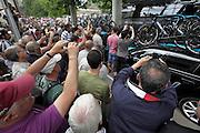 Limoux, Tour de France, 2012 public massed at the SKY team bus