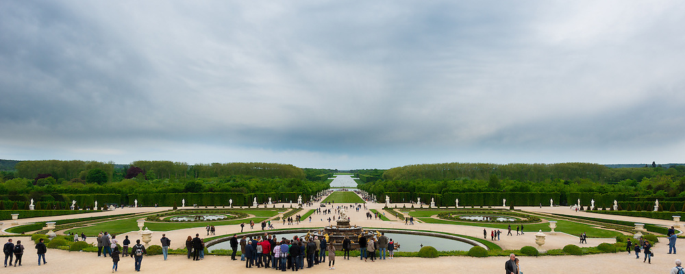 The gardens of Château de Versailles cover approximately 3 square miles.  Visitors are able to rent golf carts and bikes to get around more easily.  Marie Antoinette's estate is also located in a separate part of the Gardens.  The man-made lake off in the distance is the Grand Canal and it covers approximately 2.5 million square feet.