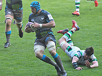 Rugby Union - 2020 / 2021 European Rugby Challenge Cup - Round of 16 - Ospreys vs Newcastle Falcons - Liberty Stadium<br /> <br />  Justin Tipuric  Ospreys breaks  past the challenge of  Sean Robinson Newcastle Falcons to to score<br /> <br /> COLORSPORT/WINSTON BYNORTH