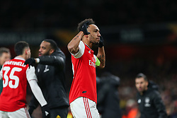 Pierre-Emerick Aubameyang of Arsenal celebrates scoring to make it 1-1 - Mandatory by-line: Arron Gent/JMP - 27/02/2020 - FOOTBALL - Emirates Stadium - London, England - Arsenal v Olympiacos - UEFA Europa League Round of 32 second leg
