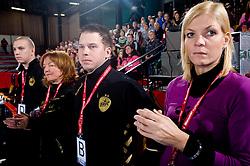 Matej Cescutti, Marta Bon, Uros Bregar and Spela Cerar at handball match of Round 5 of Champions League between RK Krim Mercator and Metz Handball, France, on January 9, 2010 in Kodeljevo, Ljubljana, Slovenia. (Photo by Vid Ponikvar / Sportida)