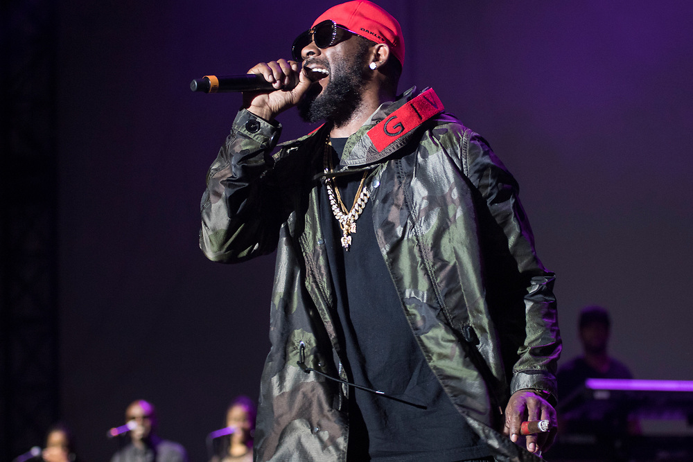 R. Kelly performs at the V103 Block Park in Chicago, IL on July 14, 2018.