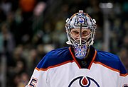 Edmonton Oilers goalie Nikolai Khabibulin makes a funny face during the second period of an NHL hockey game against the Los Angeles Kings, Thursday, Nov. 3, 2011, in Los Angeles. (AP Photo/Bret Hartman)