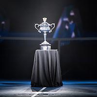Rod Laver Arena light show ahead of the women's final on day thirteen of the 2017 Australian Open at Melbourne Park on January 28, 2017 in Melbourne, Australia.<br /> (Ben Solomon/Tennis Australia)