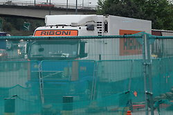© Licensed to London News Pictures. 25/08/2014. Dartford.  The lorry in a lay-by at Dartford Crossing. 13 suspected illegal immigrants have been found in the back of a lorry at Darford River Crosing this morning (25.08.2014) about 11.30 am. One person has been taken to hospital while the immigration service investigate.<br /> (Byline:Grant Falvey/LNP)