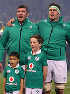 Peter O'Mahony ( Captain) and Billy Holland of Ireland during the anthems ahead of the 2016 Guinness Series  autumn international rugby match, Ireland v Canada at the Aviva Stadium in Dublin, Ireland on Saturday 12th November 2016.<br /> pic by  John Halas, Andrew Orchard sports photography.