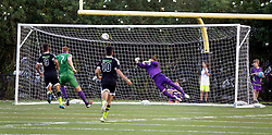 20 June 2015. New Orleans, Louisiana.<br /> National Premier Soccer League. NPSL. <br /> Jesters 1 - Knoxville 1.<br /> Goal. Knoxville scores first as the New Orleans Jesters play Knoxville Force at home in the Pan American Stadium. Jesters drew 1-1 with Knoxville.<br /> Photo; Charlie Varley/varleypix.com