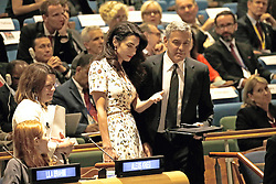 September 20, 2016 - New York, New York, United States of America - Lebanese-British lawyer, Amal Clooney (L) and her husband United States actor George Clooney attend a Leaders Summit for Refugees during the United Nations 71st session of the General Debate at the United Nations General Assembly at United Nations headquarters in New York, New York, USA, 20 September 2016..Credit: Peter Foley / Pool via CNP (Credit Image: © Peter Foley/CNP via ZUMA Wire)