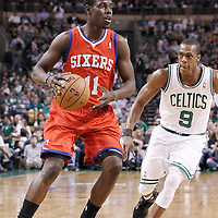 21 May 2012: Philadelphia Sixers point guard Jrue Holiday (11) drives past Boston Celtics point guard Rajon Rondo (9) during the Boston Celtics 101-85 victory over the Philadelphia Sixer, in Game 5 of the Eastern Conference semifinals playoff series, at the TD Banknorth Garden, Boston, Massachusetts, USA.