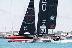 June 25, 2017 - France - The Great Sound, Bermuda, 25th June 2017. Oracle Team USA fall off the foils at the bottom mark while trying to gybe Emirates Team New Zealand lead all the way around the course. Day four of racing in the America's Cup presented by Louis Vuitton. (Credit Image: © Panoramic via ZUMA Press)