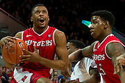 DALLAS, TX - JANUARY 21: Jerome Seagears #1 of the Rutgers Scarlet Knights drives to the basket against the SMU Mustangs on January 21, 2014 at Moody Coliseum in Dallas, Texas.  (Photo by Cooper Neill/Getty Images) *** Local Caption *** Jerome Seagears