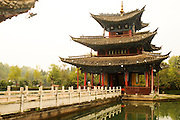 China Yunnan province Lijiang black dragon pool Park, pavilion
