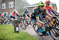 Alison Jackson (USA) of Tibco-Silicon Valley Bank Cycling Team leans into a corner during the AG Driedaagse Brugge-De Panne - a 134.4 km road race, between Brugge and De Panne on April 21, 2018, in West Flanders, Belgium. (Photo by Balint Hamvas/Velofocus.com)