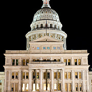 Texas State Capitol in Austin at night. Completed in 1888 and in an architectural style of Renaissance Revival, the Texas State Capitol is the largest of the state Capitols. Although smaller in size than the US Capitol in Washington DC, it's dome rises 15 feet higher than the US Capitol Dome. On a high point in Austin's downtown, it has a commanding view over the surround area. Its exterior is of locally source granite.
