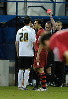 Photo: Leigh Quinnell.<br /> Luton Town v Cardiff City. Coca Cola Championship. 01/01/2007. Lutons David Bell is shown a red card for a second yellow card.