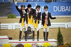 Team Denmark bronze medal<br /> Annika Lykke (DEN) - Preussen WInd<br /> Stinna Tange Kaastrup (DEN) - Labbenhus Snoeys<br /> Caroline Cecilie (DEN) - Rostom's Hatim-timm<br /> Henrik Weber Sibbesen (DEN) - Rexton Royal<br /> Alltech FEI World Equestrian Games <br /> Lexington - Kentucky 2010<br /> © Dirk Caremans