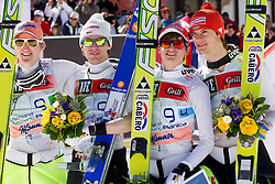Third placed team of Germany: Severin Freund, Maximilian Mechler, Richard Freitag and Andreas Wank at flower ceremony after the Flying Hill Team competition at 3rd day of FIS Ski Jumping World Cup Finals Planica 2012, on March 17, 2012, Planica, Slovenia. (Photo by Vid Ponikvar / Sportida.com)