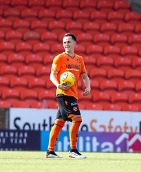 Dundee United's Lawrence Shankland at the end with the match ball after scoring four goals. Dundee United 4 v 1 Inverness Caledonian Thistle, first Scottish Championship game of season 2019-2020, played 3/8/2019 at Tannadice Park, Dundee.