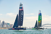 SailGP USA Team and SailGP Australia Team testing and practicing  in Sydney .