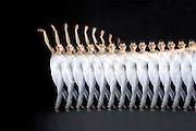 A dancers performing modern dance.  A special stroboscopic camera records the motion.  The record of the motion can be analyzed to show both the timing and range of the motion.  This type of image is very important in the science of biomechanics.