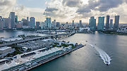 Aerial view of the port of Miami, Florida, USA