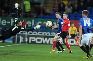 Cardiff city's Joe Mason © has a shot saved by Luke Steel, the Barnsley keeper. Npower championship, Cardiff city v Barnsley at the Cardiff city stadium in Cardiff, South Wales on Tuesday 9th April 2013. pic by Andrew Orchard,  Andrew Orchard sports photography,