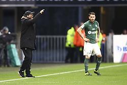February 10, 2019 - Rennes, France - Jean Louis Gasset ( Entraineur coach Saint Etienne) altercation avec arbitre Johan Hamel (Credit Image: © Panoramic via ZUMA Press)
