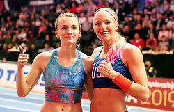 USA's Sandi Morris (right) and Authorised Neutral Athlete's Anzhelika Sidorova celebrate winning medels at the Woman's Pole Vault Final during day three of the 2018 IAAF Indoor World Championships at The Arena Birmingham.